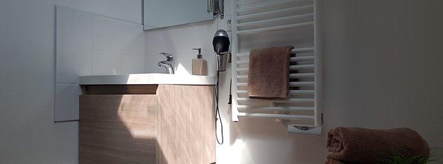 Salle de bain équipé de sèche cheveux