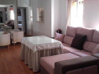 Salón con dos ambientes.Uno cerca de la cocina,ideal para desayuno.Otro con cheslong para descansar.