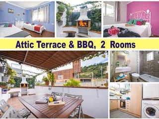 Atico, terraza & Barbacoa, Park Guell, Metro junto al apartamento
