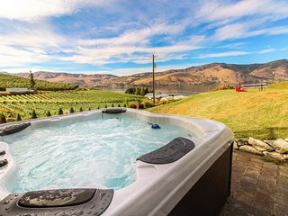 NEW LISTING! Tuscan-style home w/private hot tub & yard, vineyard & lake views
