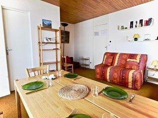 Appartement 2 pieces 4 personnes proche des pistes, idealement place avec vue pa