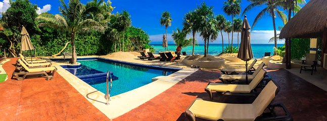 Amazing 45 foot beachfront infinite pool and perfectly manicured beach await you
