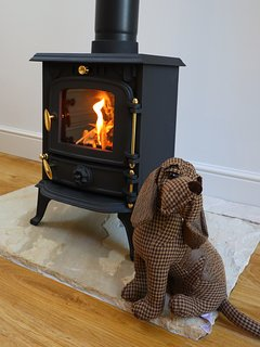 The wood burner wouldn't be complete without a dog curled up in front of it!