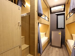 4 Bunk Beds shared bathroom