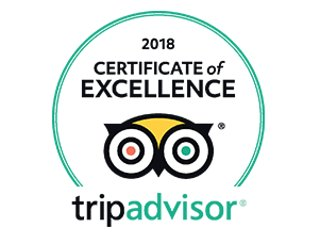 2018 Certificate of Excellence awarded by Tripadvisor!