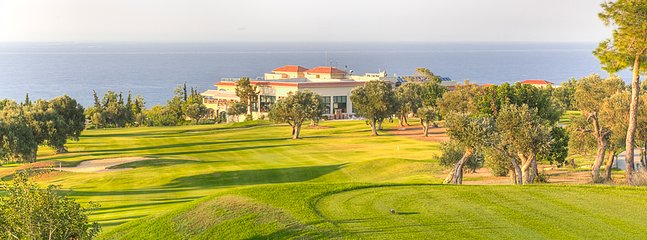 Korineum Golf Course, with clubhouse in the distance.