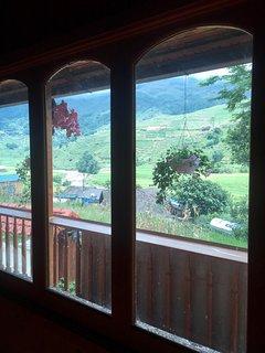 moutain view through window