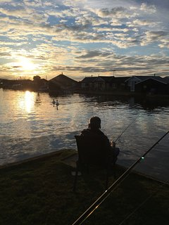 Sunset fishing from the garden