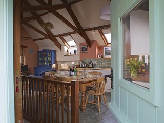 CLOVER, cosy barn conversion, wood burning stove, stunning countryside views