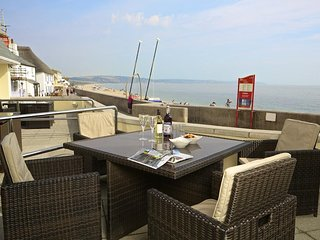 1 AT THE BEACH, pet friendly, ground floor apartment with an outside terrace, si