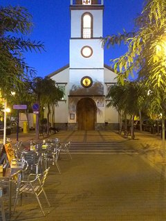 The quaint local church in the evening