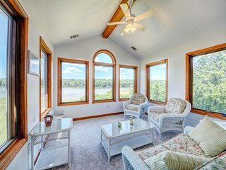NEW LISTING! Lakefront home w/ stunning views, firepit, private movie cinema