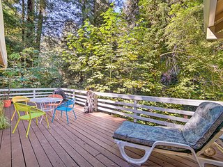 Riverfront Cottage in Redwoods w/ Decks + Beach!