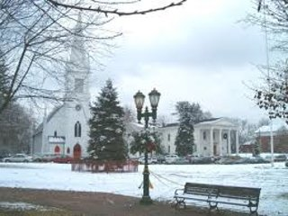 Lovely town on a snowy winter day