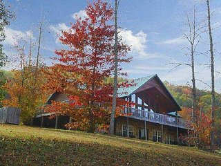The cabin has Fantastic Mountain Views, beautiful cabin, great yard for kids,