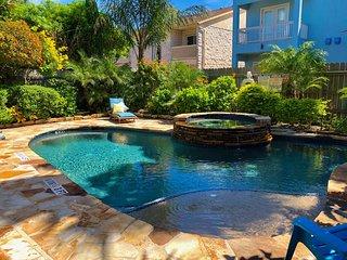 Charming beach house | private heated pool, hot tub & lush backyard