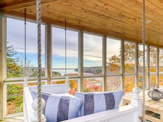 Bayfront home w/ 270-degree views, deck & porch - near Popham Beach!
