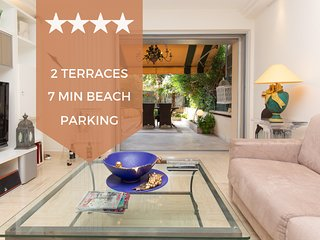 ❤ 4 min walk to the beaches ❤with two pretty terraces and private parking ❤