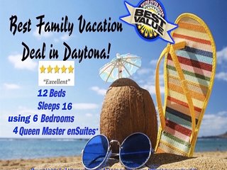 Sleep 16 ONLY $24ea/night VOTED Daytonas BEST NON-STOP FAMILY FUN BEACH VACATION