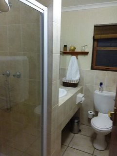Second bathroom with shower, toilet and basin