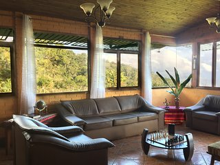This is the living room with the view of the primary forest