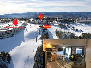 Updated 2BR/2BA ski in/out, village, mnt. views, Sleeps 8 (6Ad./2Ch), AC