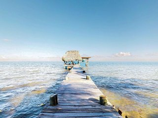Beachfront home w/ dock, boat, patio, deck, hammocks & lovely sea view!