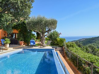 Villa with sea and montains views, infinity pool and garden.6 people.SA RIERA