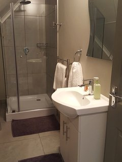 Main bedroom en-suite bathroom with shower and toilet. Heated towel rail & complimentary soaps.