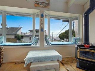 European-style house w/ocean views, private hot tub, & location near the beach!