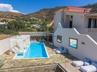 Andros Luxury House - Private pool & Amazing Seaview, 200m from Beach