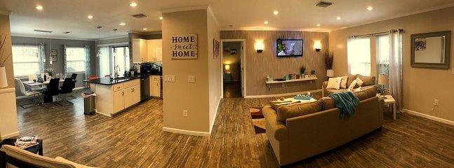 Split Floor plan with open kitchen/living room area