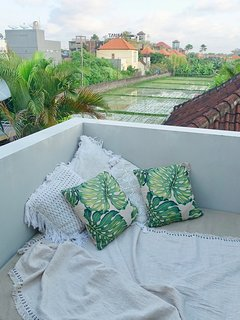 Fabulous rice field views upstairs. Cool and breezy, the prefect relaxation spot with a book or GnT