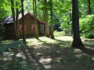 RIVERFRONT ! HOT TUB !   Log Cabin.TOP RATED !   Fully staffed w/mgr on premise