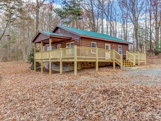 Renovated cabin w/ private hot tub, firepit & large deck - near town, 2 dogs OK!
