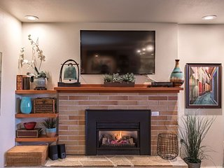 Cozy up in front of fireplace