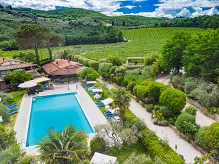 Tontenano Villa Apartments, in the hills of Chianti, Pool Area, Wineyard