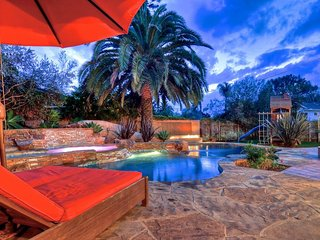 NEW LISTING! Villa-style home w/courtyard, private pool/hot tub & game room