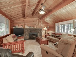 Rustic, dog-friendly cabin w/ private hot tub, game tables, & 8 SHARC passes