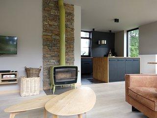 SAMREE hedendaags huis met houthaard en finse sauna aan natuurgebied Natura2000