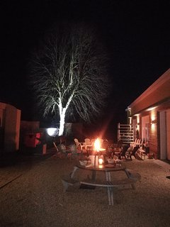 Garden view, camp fire