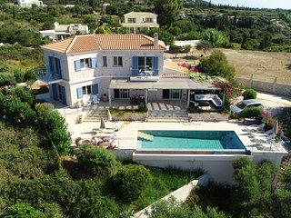 Mounda Beach Villa, Sleeps 7 On Mounda Beach With Pool and Sea Views