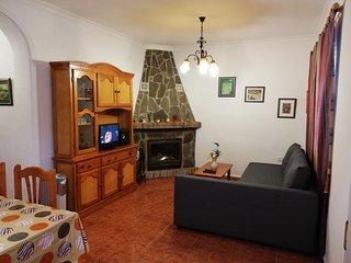 Salón* (Renovado) con chimenea de leña con puerta de cristal