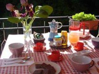 Terrazza per la colazione estiva