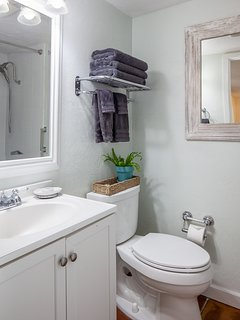 Guest Cottage bath with bathtub and shower