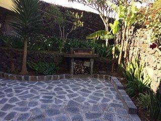 Intente usar la barbacoa con madera en su jardín privado oculto.