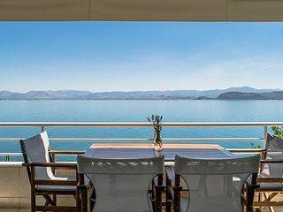 Waterfront Apartment, Unique Sea View balcony | near Nafplio, Epidaurus, Mycenae