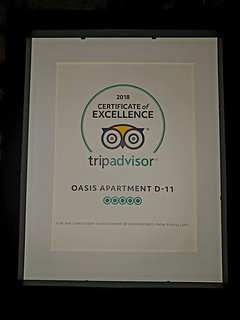 Certificate of excellence from TripAdvisor 2018