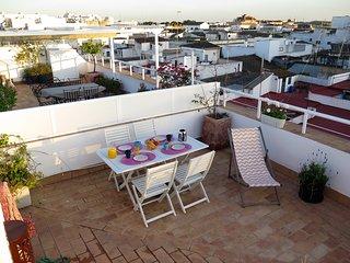 Casa Sol, ático muy luminoso con terraza en el centro de Jerez (costa de la luz)