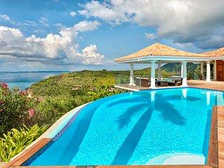 HAPPY BAY VILLA...  wonderful 4BR villa w/ full AC, heated pool, and gym!